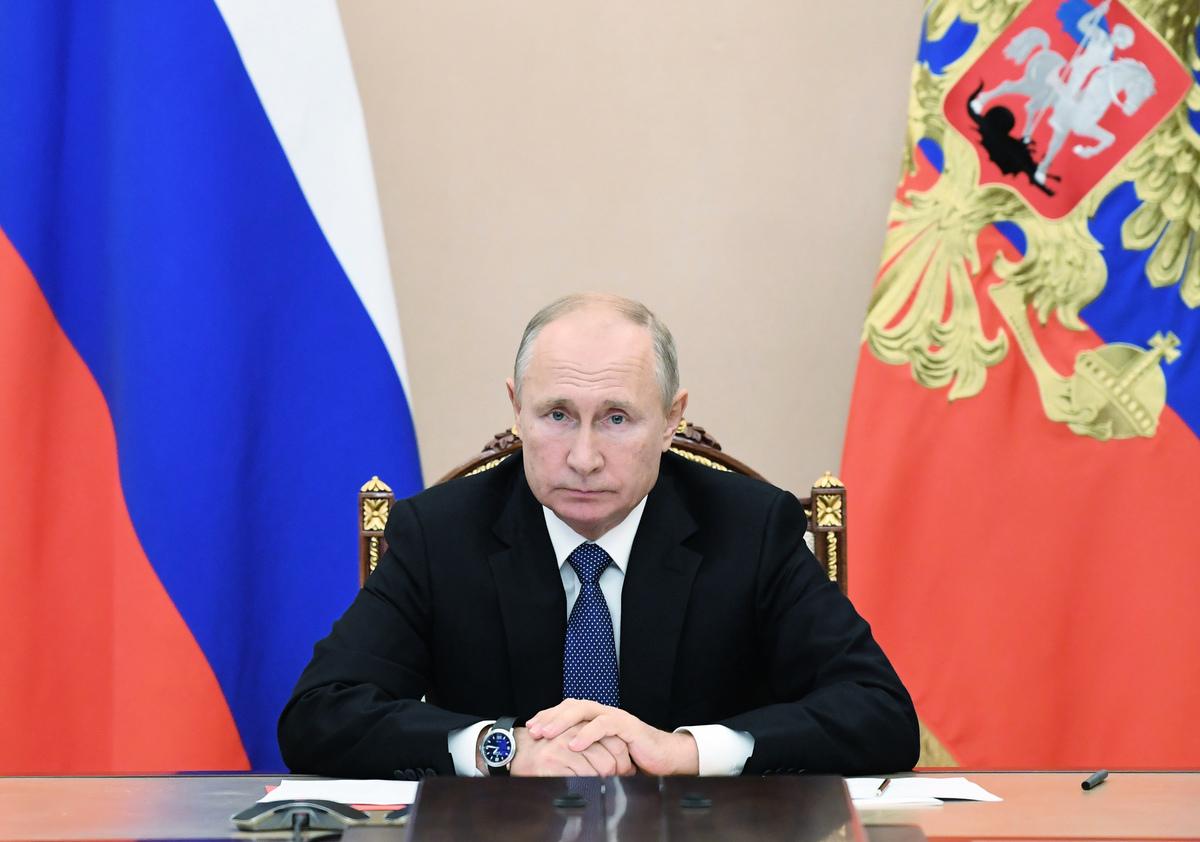 2020年11月6日,俄羅斯總統普京通過電話會議出席與安理會成員的會議。(ALEXEY NIKOLSKY/Sputnik/AFP/Getty Images)