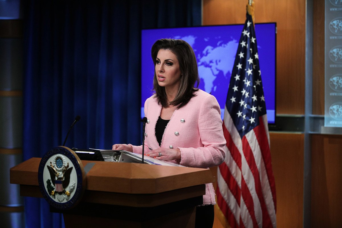 圖為美國國務院發言人奧塔古斯(Morgan Ortagus)。(Alex Wong/Getty Images)