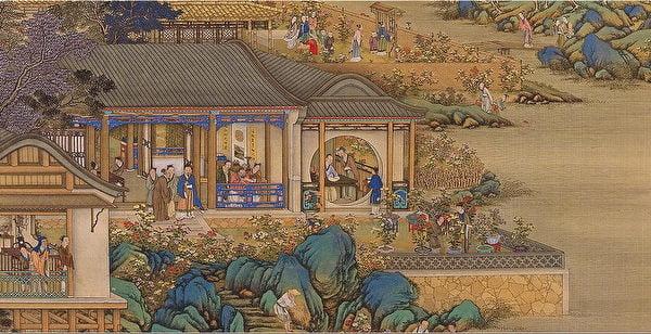圖為《雍正十二月行樂圖》之「九月賞菊」。(公有領域)