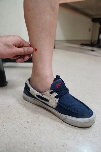 三陰交在足踝內側上四橫指處、脛骨後凹陷的地方。(蘇泰安/大紀元)