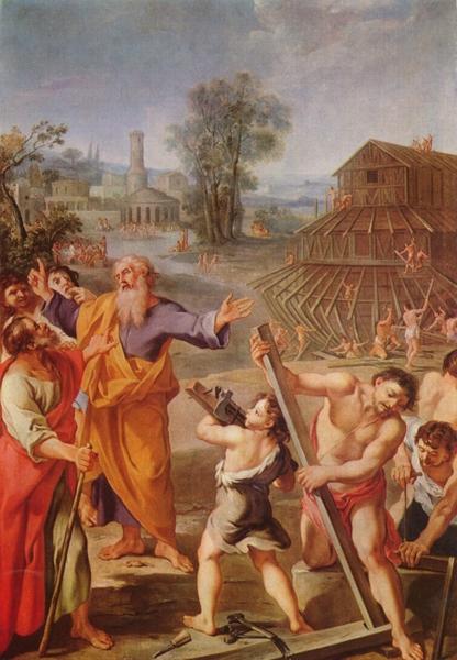 1675年所繪的描述諾亞建造船時的故事。(公有領域)