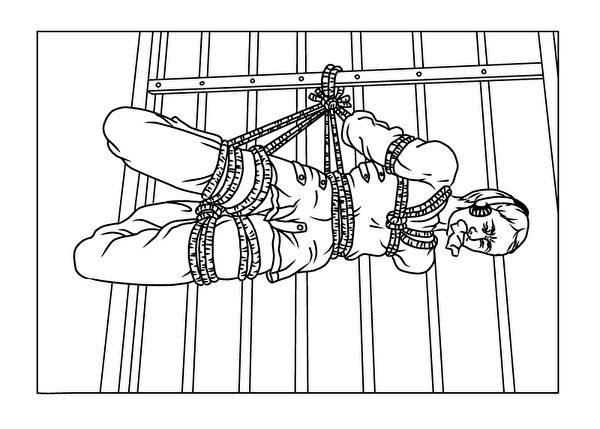 酷刑演示:約束衣。約束衣是中共迫害法輪功學員的百種酷刑之一。(明慧網)