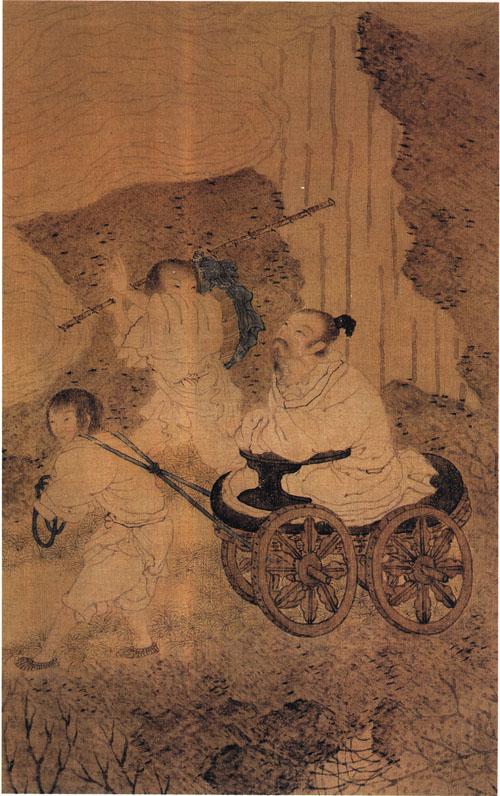 明崔子忠繪《藏雲圖》(局部),絹本設色,北京故宮博物院藏,描繪李白盤腿端坐盤車上,緩緩行於山路上,仰首凝視頭頂上的雲氣。(公有領域)