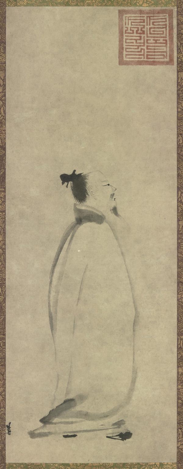 南宋梁楷作《太白行吟圖》,現藏於日本東京國立博物館。(公有領域)