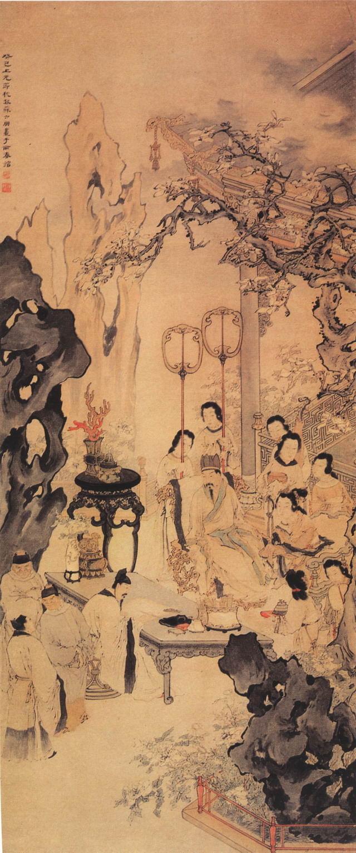 《李白作清平調圖》,取自清蘇六朋繪《清平調圖》,廣州美術館藏。 (公有領域)