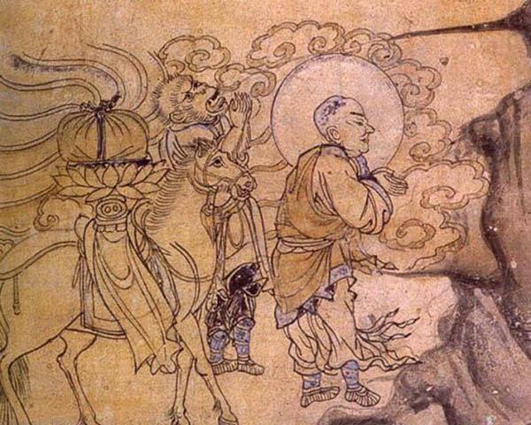敦煌西夏壁畫中的玄奘取經圖。(公有領域)