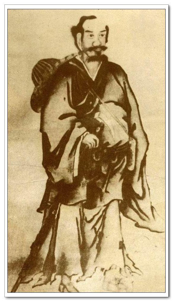 張三丰自畫像,原像保存在明代李文忠公家藏文物第十種材料內,後被人發現,保存至今。(公有領域)