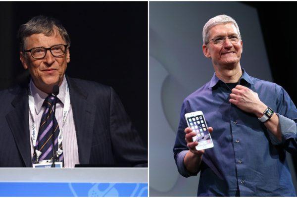 微軟創辦人比爾・蓋茨(Bill Gates,圖左)和蘋果首席執行官蒂姆・庫克(Tim Cook,圖右)曾是希拉莉考慮的副手人選。(大紀元合成圖)