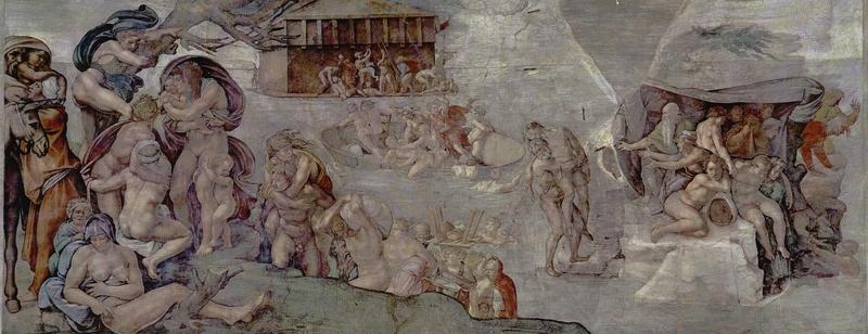 米開朗基羅的作品《大洪水》,繪於梵蒂岡的西斯廷禮拜堂。(公有領域)