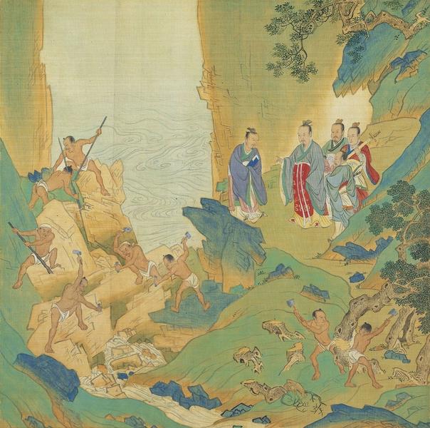 大禹治水,明 仇英繪《帝王道統萬年圖》冊頁。(公有領域)