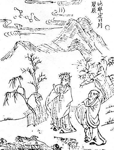 地皇定日月星辰,明《開闢衍繹》插圖。(公有領域)