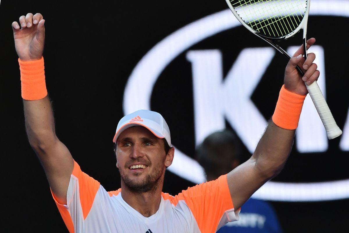 29歲、世界排名第50位的德國球手施華利夫淘汰梅利晉級澳網八強。 (PAUL CROCK/AFP/Getty Images)
