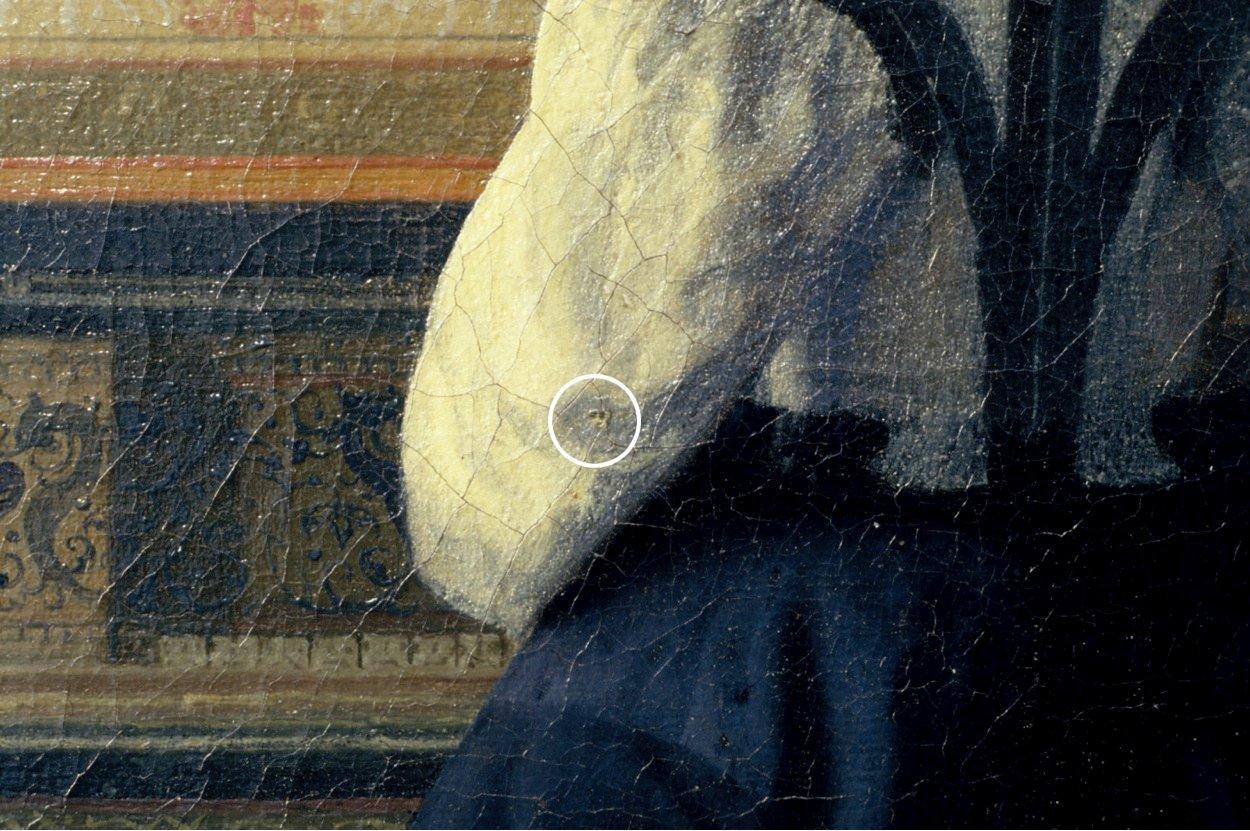 揚·維梅爾(Johannes Vermeer)畫作《音樂課》(The Music Lesson)局部,作於1662—1664年間,上面的針孔清晰可見。(Courtesy of Jorgen Wadum)