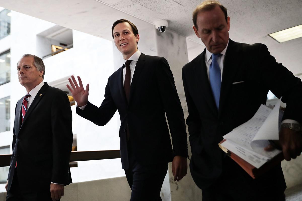 7月24日,特朗普女婿、白宮高級顧問庫什納就通俄門在國會作證後發表了一個強有力的講話。 (Photo by Chip Somodevilla/Getty Images)