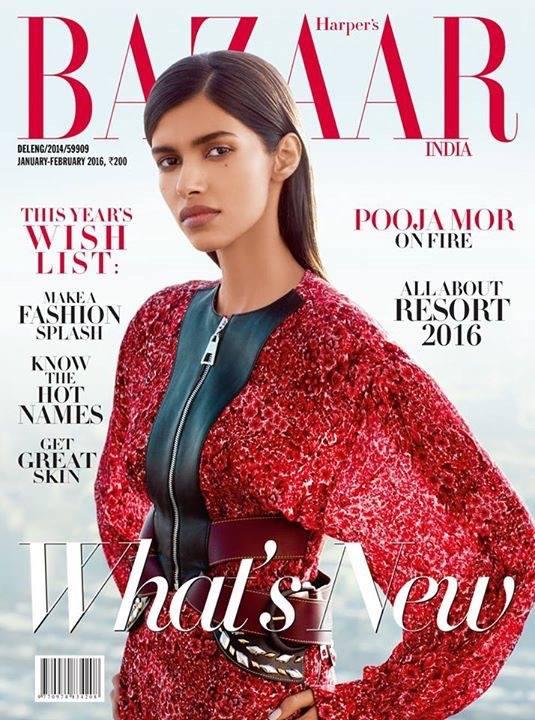 Pooja Mor2016年春登上《Harper's BAZAAR》雜誌封面。(Pooja Mor/Facebook)