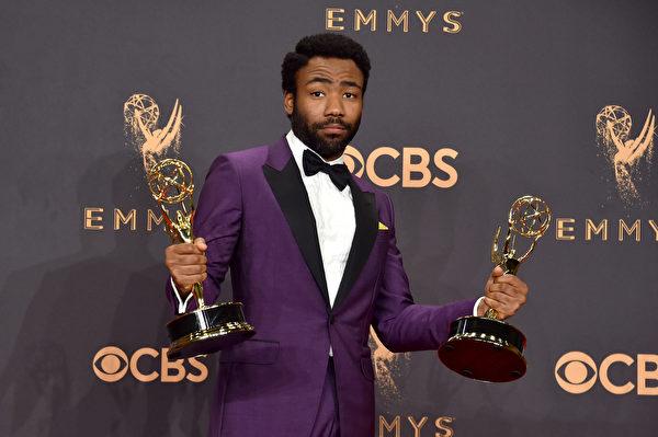 Donald Glover自編自導自演的《Atlanta》勝得了最佳導演與最佳男主角兩座獎盃。。(Alberto E. Rodriguez/Getty Images)