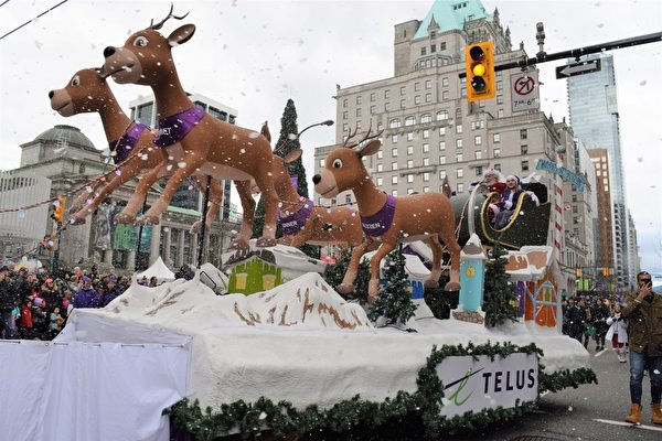 溫哥華盛大遊行迎接聖誕節