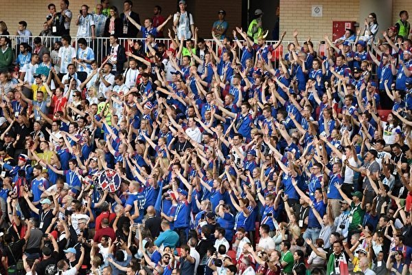 Iceland's supporters cheer their team during the Russia 2018 World Cup Group D football match between Argentina and Iceland at the Spartak Stadium in Moscow on June 16, 2018. (Photo by Francisco LEONG / AFP) / RESTRICTED TO EDITORIAL USE - NO MOBILE PUSH ALERTS/DOWNLOADS (Photo credit should read FRANCISCO LEONG/AFP/Getty Images)