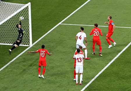 VOLGOGRAD, RUSSIA - JUNE 18: Mouez Hassen of Tunisia makes the save prior to Harry Kane's first goal during the 2018 FIFA World Cup Russia group G match between Tunisia and England at Volgograd Arena on June 18, 2018 in Volgograd, Russia.