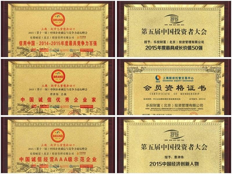 樂投此前獲得的各種榮譽證書(大紀元合成圖)