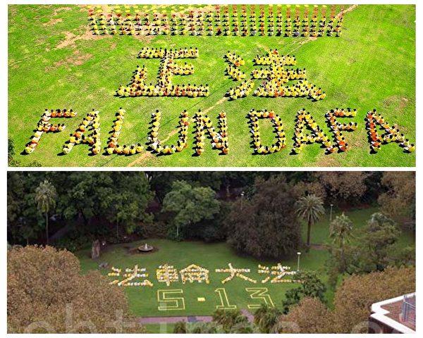 上圖為2010年1月9日,部份法輪功學員在悉尼Wentworth公園排字。(明慧網);下圖為是2011年法輪功學員在悉尼海德公園慶祝5·13世界法輪大法日排字。(大紀元)