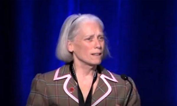 安恩·科森她向專業醫生、病人、政府醫療機構宣講青檸病的複雜和凶險。圖為她在波士頓一次會議上。(安恩·科森提供)
