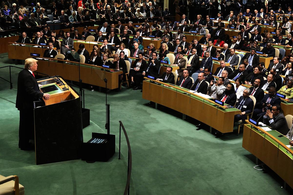 特朗普在2018年聯合國大會上,公開呼籲各國領袖抵制社會主義。(Spencer Platt/Getty Images)