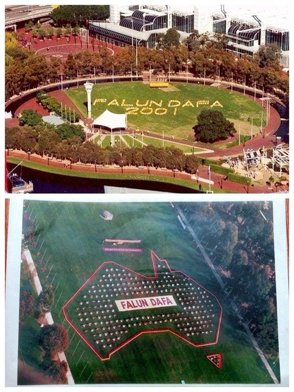 上圖為2001年,部份悉尼法輪功學員在悉尼達令港排字。(明慧網);下圖為2001年部份法輪功學員在澳洲坎培拉國會前的綠地上排字。(法輪功學員提供)