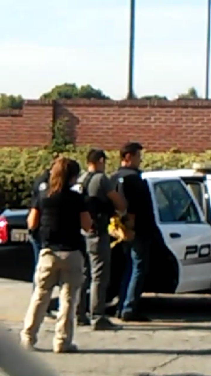 疑犯在周圍工人目睹下被戴上手銬、押入警車。(目擊者提供)