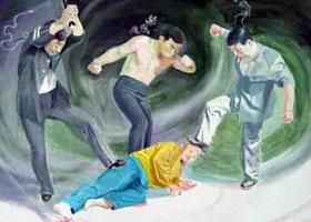 中共酷刑示意圖:毆打。(明慧網)