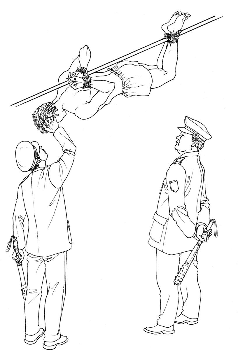 中共酷刑演示圖:烤全羊。(明慧網)