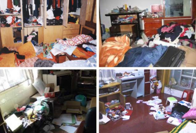 法輪功學員被警察非法綁架,抄家後,家裏一片狼藉。(明慧網)