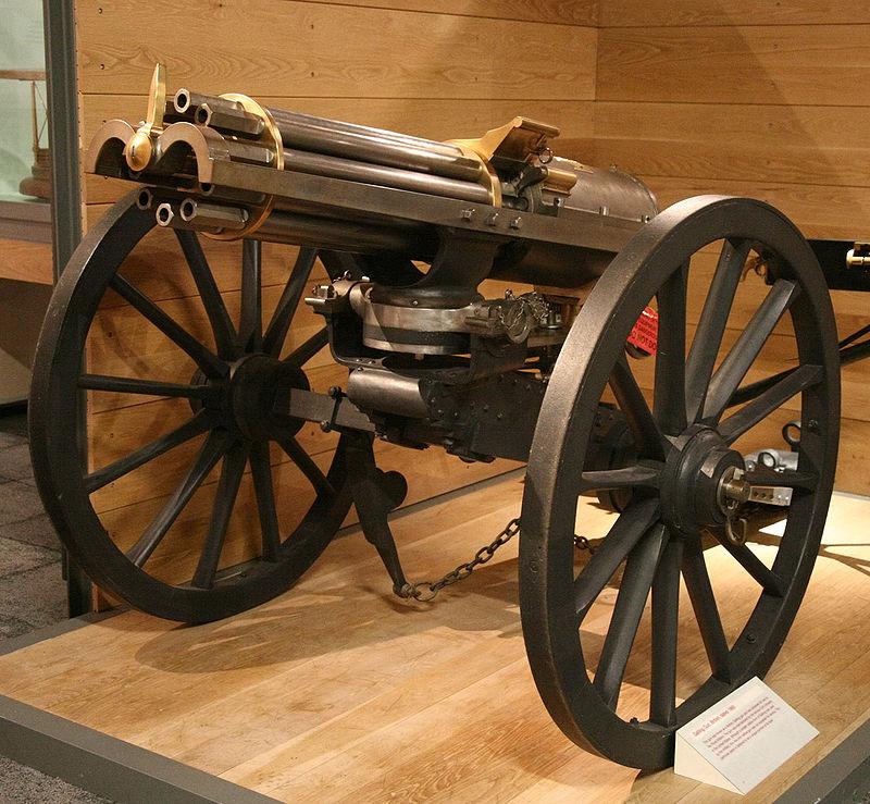 1865年的加特林槍。(維基百科公有領域)