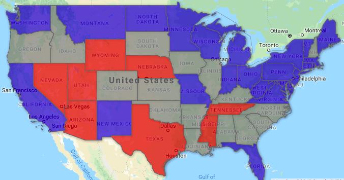 【實時更新】美2018年中期選舉選情地圖