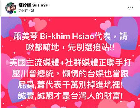 資深媒體人蘇拾瑩15日在面書貼文,希望台灣駐美代表不要受到美國左派媒體的誤導。(蘇拾瑩面書)