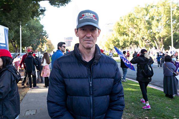 來自北加州Gold River市的基督徒Eric Leisten說:「我認為特朗普是神選之人,是為正義和真理而戰的勇士。」(周容/大紀元)