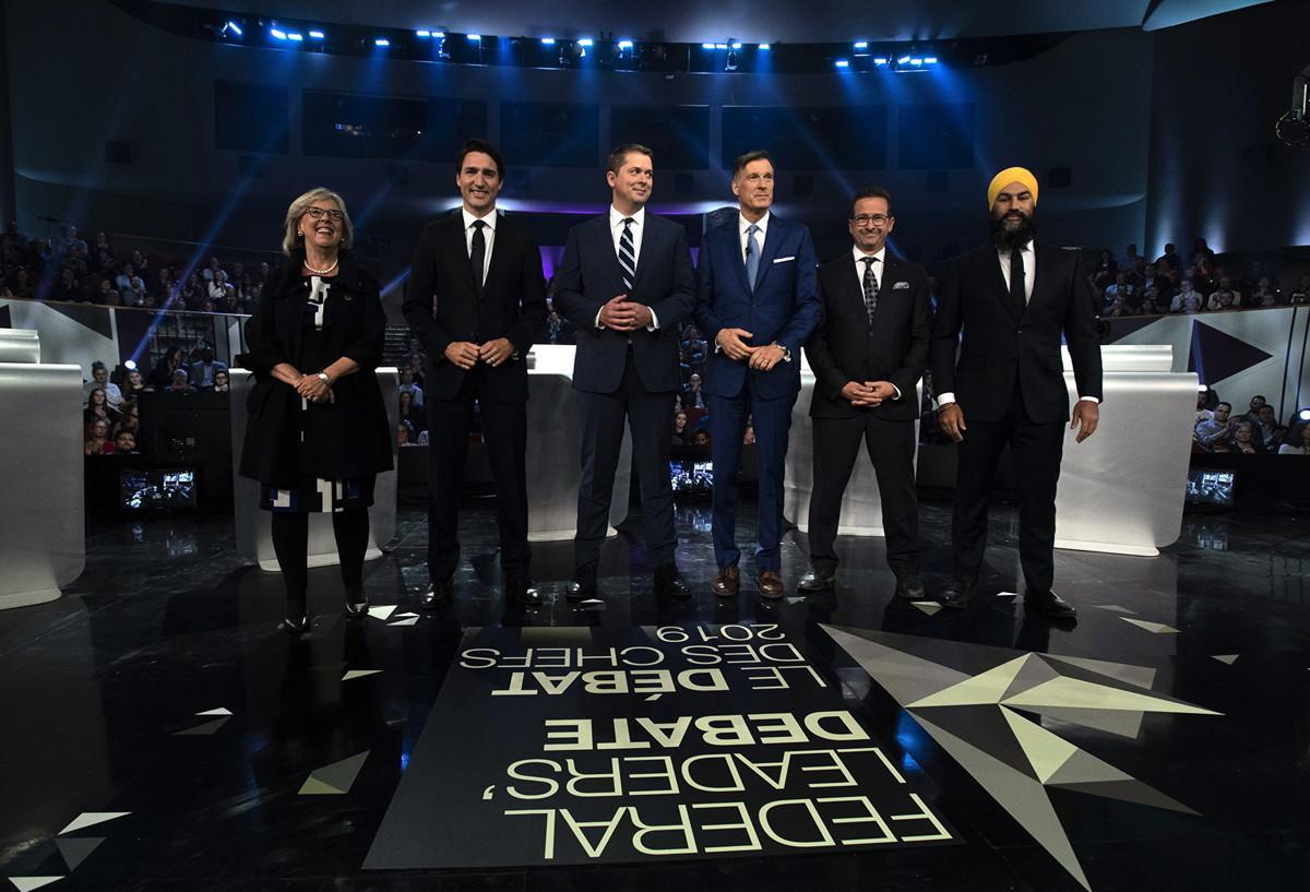 加拿大2019年聯邦大選六大政黨的黨領,依次為:梅伊、杜魯多、熙爾、伯尼爾、布蘭切特、駔勉誠。(加通社)