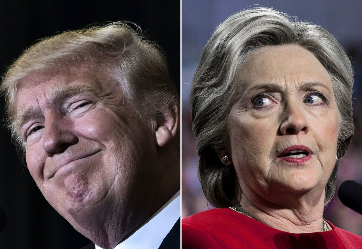 圖中分別為美國現任總統唐納德・特朗普(左)和民主黨2016年總統候選人希拉莉・克林頓(Hillary Clinton)。(MANDEL NGAN,BRENDAN SMIALOWSKI/AFP via Getty Images)