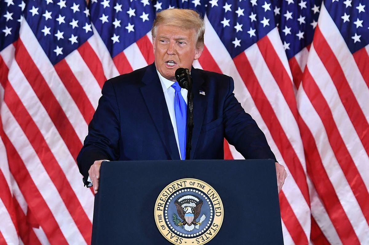 美國總統特朗普2020年11月10日敦促參議院共和黨人通過他對FCC委員的提名。(Photo by MANDEL NGAN/AFP via Getty Images)