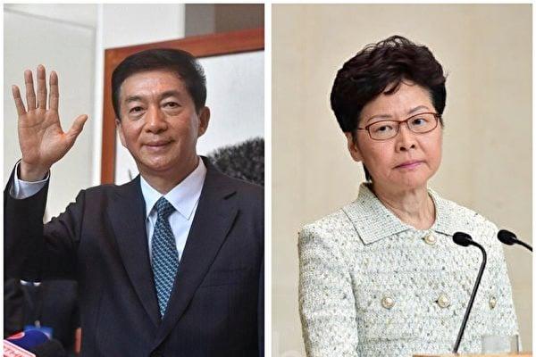 2020年8月7日,特朗普政府宣佈制裁11名中港官員,包括香港特首林鄭月娥、中聯辦主任駱惠寧。圖為駱惠寧與林鄭。(大紀元合成圖)