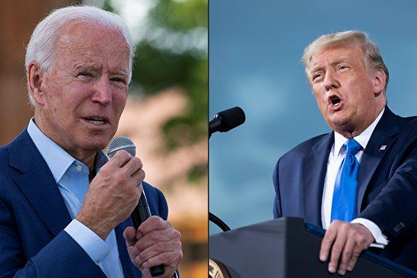美國總統特朗普和民主黨總統候選人拜登於9月29日晚在俄亥俄州的克利夫蘭市進行2020年總統大選的首場辯論。 (JIM WATSON and Brendan Smialowski/AFP)