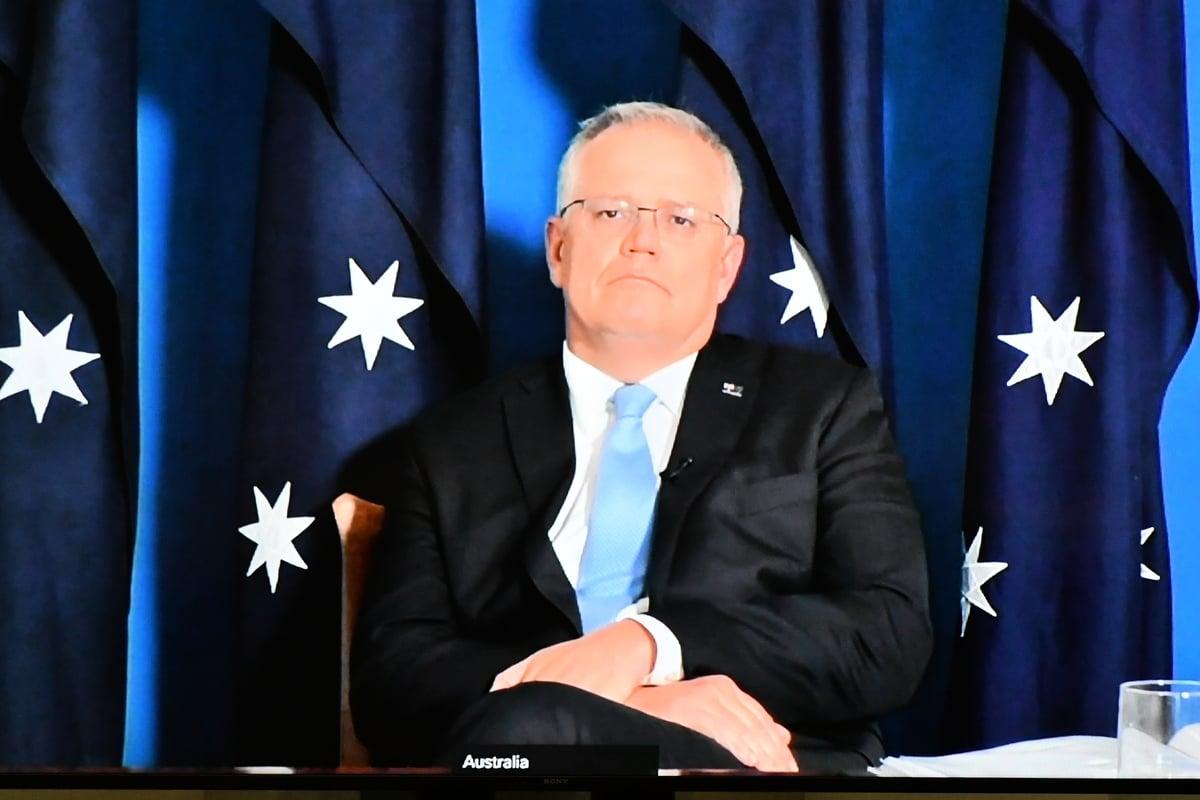 圖為澳洲總理莫里森11月30日通過影片連線出席眾議院會議。(Sam Mooy/Getty Images)