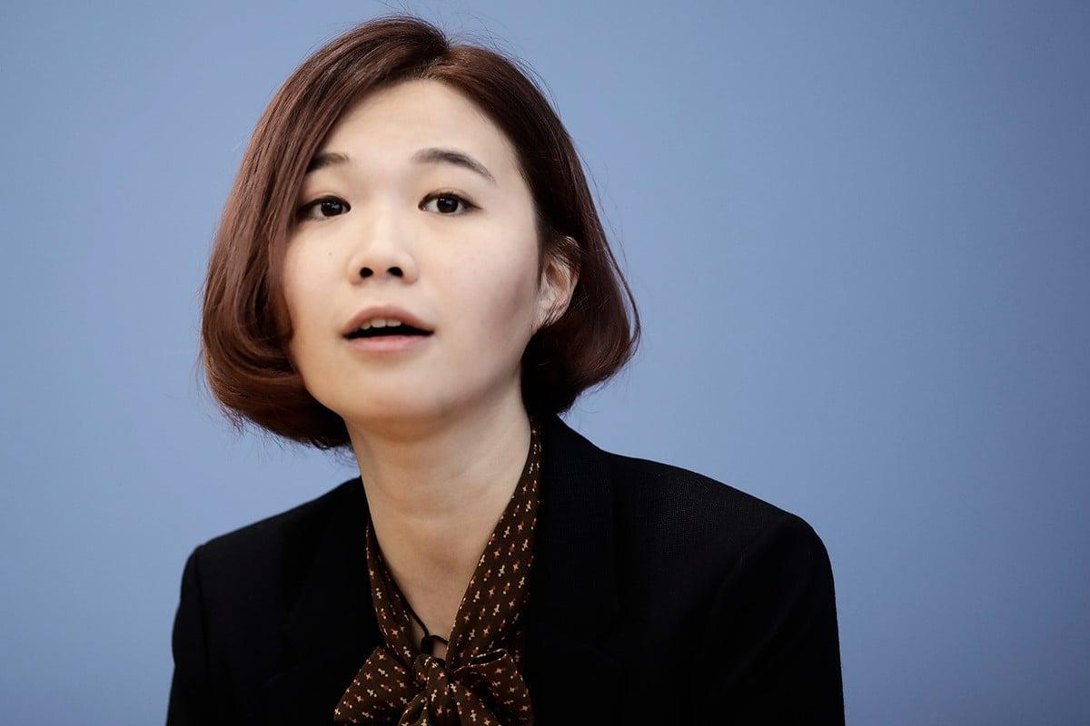 2019年9月11日,鄺頌晴在柏林出席記者招待會,討論香港局勢。 (Carsten Koall/Getty Images)