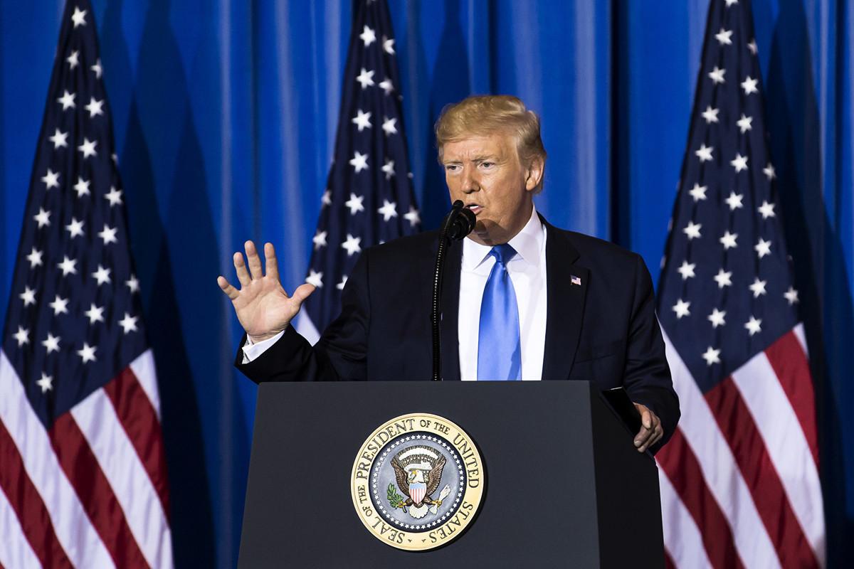 特朗普周六(6月29日)在與習近平會晤後,舉行新聞發佈會上講話。 (Photo by Tomohiro Ohsumi/Getty Images)