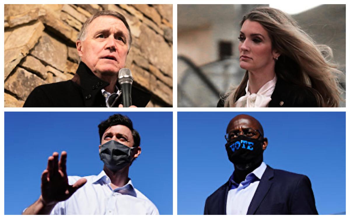 佐治亞2021年01月5日的參議員複選已經成為史上最貴選舉。左上:大衛‧珀杜(David Perdue);右上:凱莉‧洛夫勒(Kelly Loeffler);左下:喬恩‧奧索夫(Jon Ossoff);右下:拉斐爾‧沃諾克(Raphael Warnock)。(Getty Image)