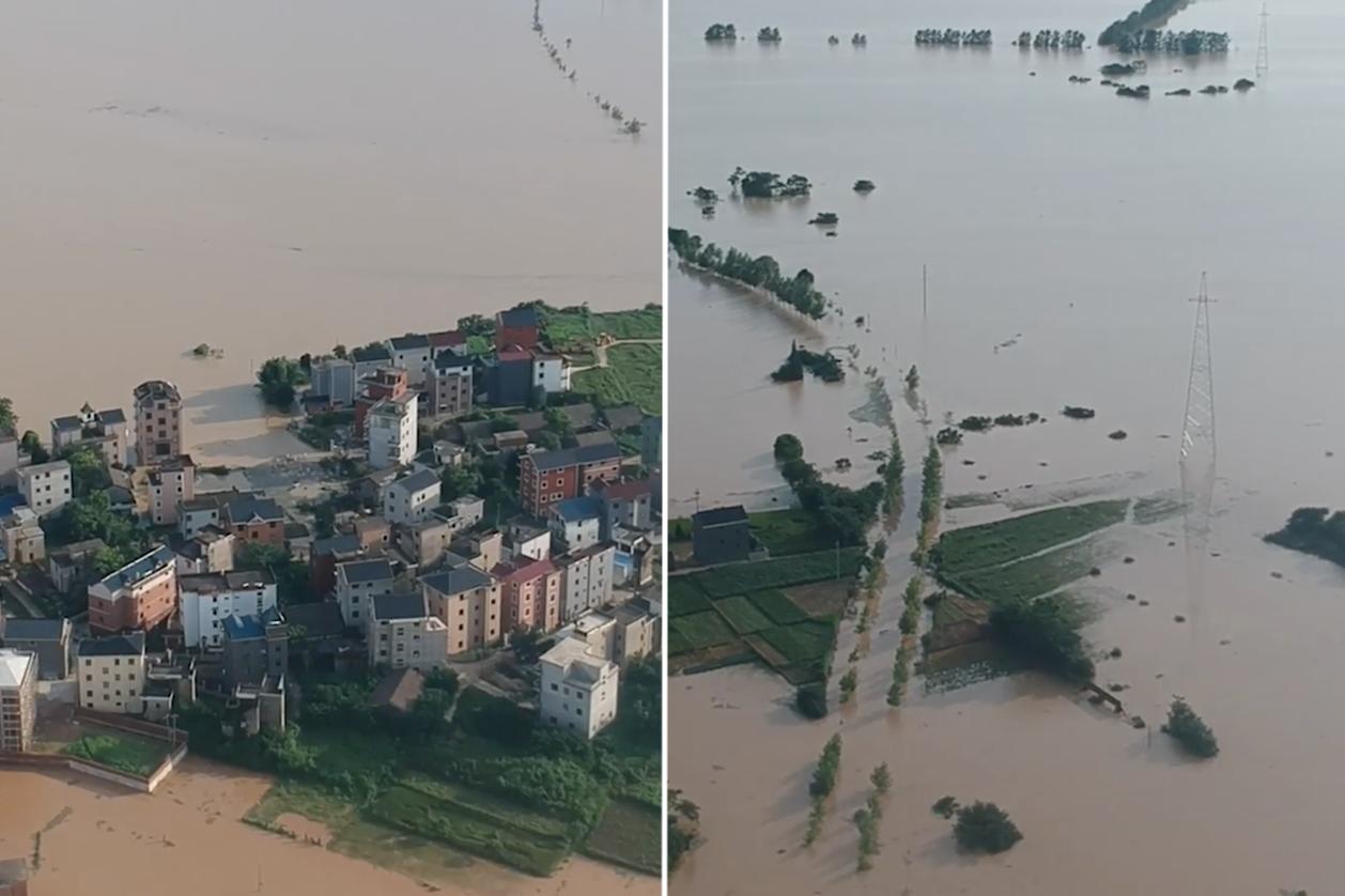 江西鄱陽縣雙港鎮雙豐圩堤出現缺口,洪水吞噬村莊、農田與公路。(影片截圖)