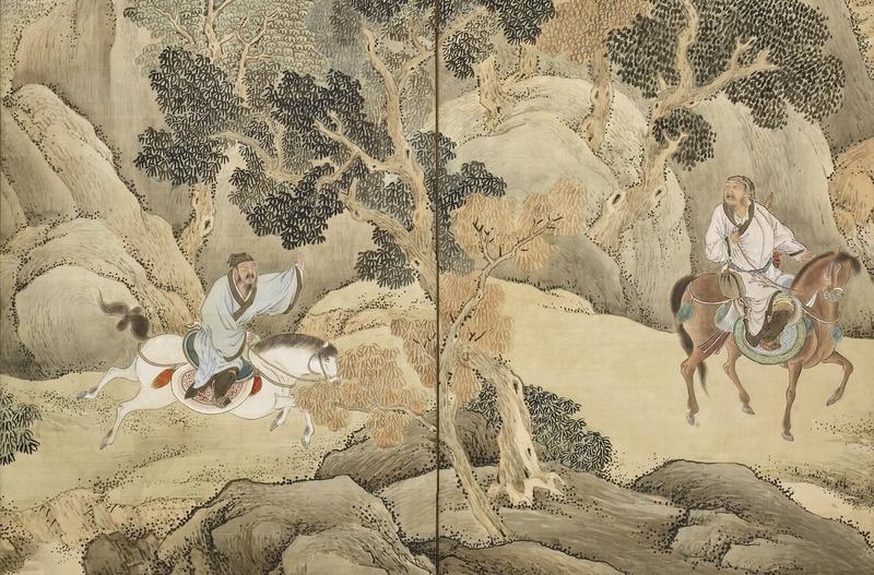 〈蕭何追韓信圖〉(局部),日本江戶時代畫家與謝蕪村繪,京都野村美術館藏。(公有領域)
