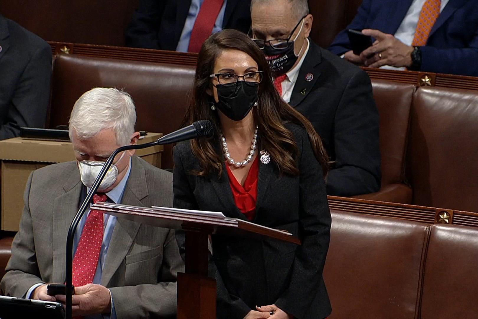 圖為共和黨聯邦眾議員勞倫·博波特(Lauren Boebert)講話資料照。(congress.gov via Getty Images)