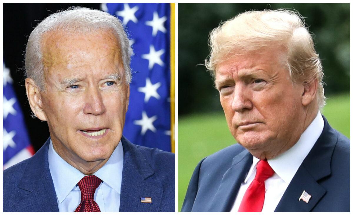 (左)民主黨總統候選人喬・拜登。(右)唐納德・特朗普總統。(Mandel Ngan/AFP via Getty Images; Samira Bouaou/The Epoch Times)