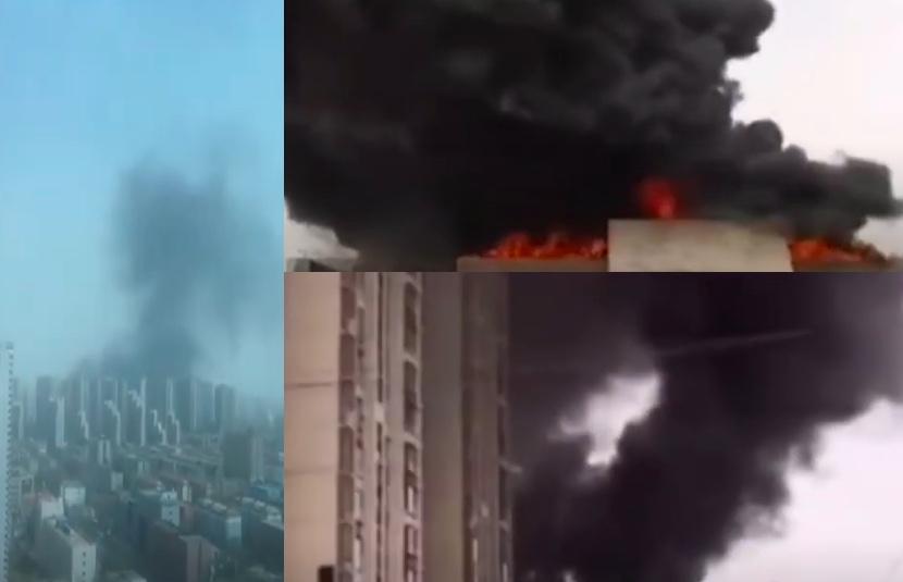 3月17日下午,石家莊市裕華區萬達附近的石府小區10號樓著火。(影片截圖合成)